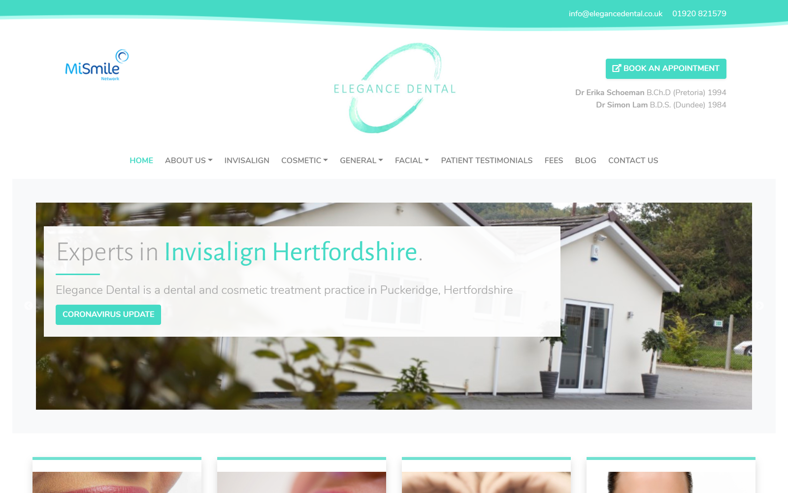Dental and cosmetic treatment brochure website screenshot