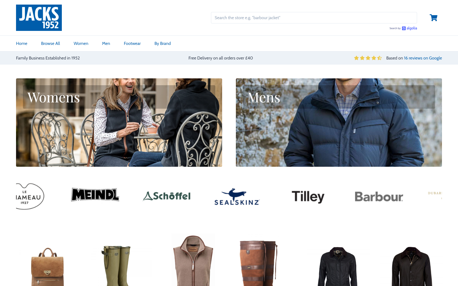 Online shop for a country clothing retailer screenshot